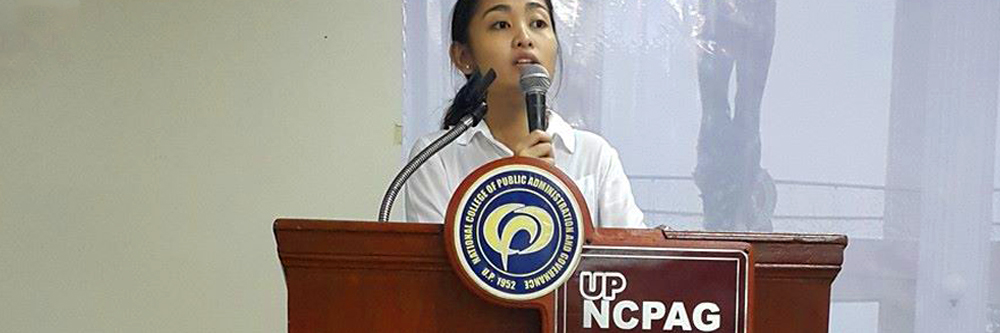 NCPAG Student Council Chairperson Janella Santiago delivering the closing remarks for Lingkod Bayan Series.