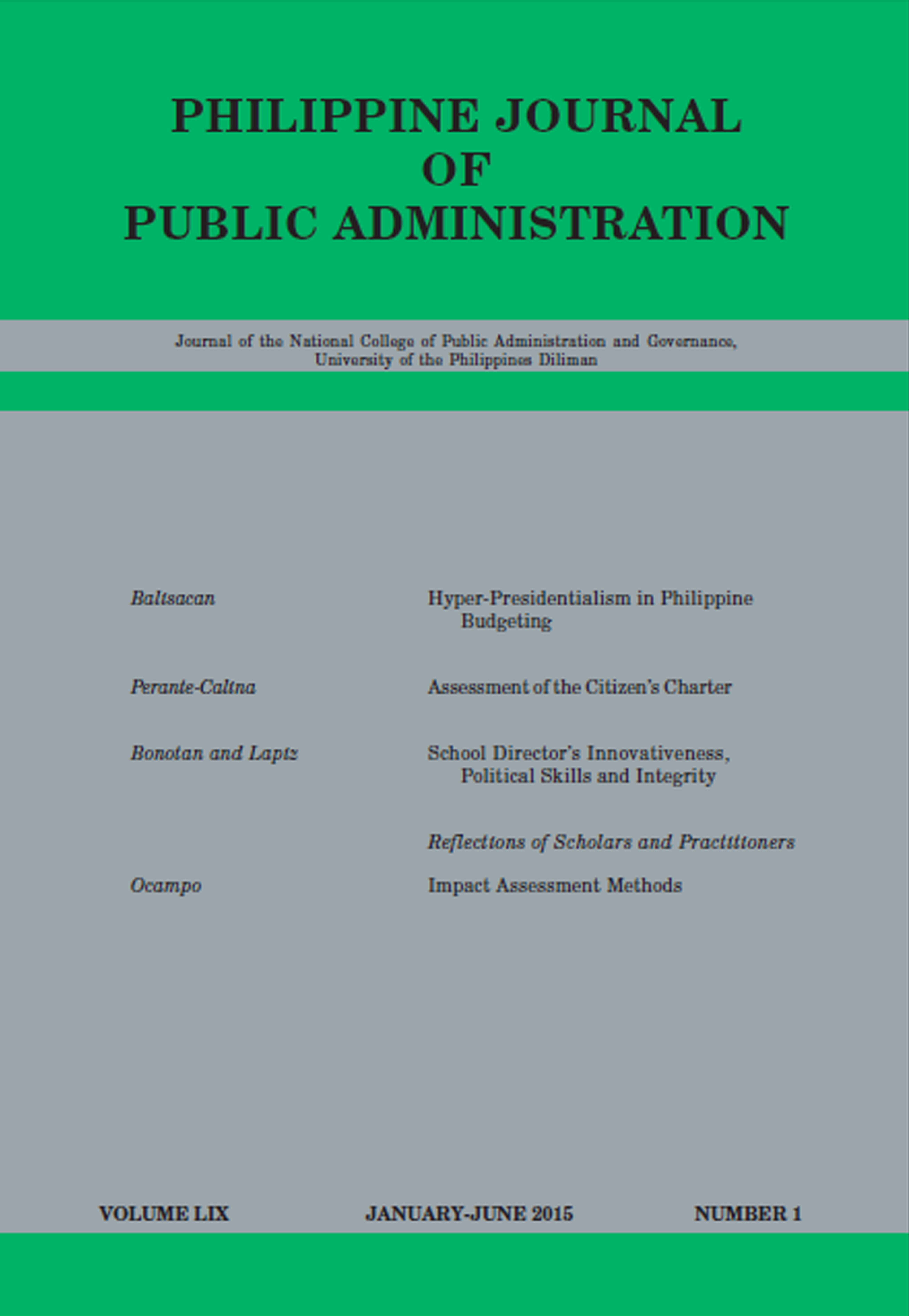 Phil. Journal of Public Administration Vol. 59, No. 1
